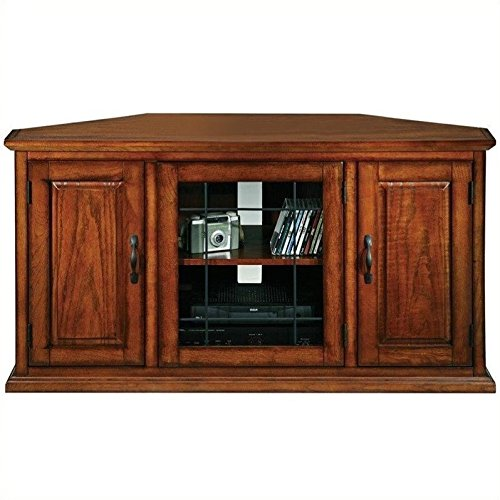 Burnished Oak Tv (Leick 80385 Oak Leaded Glass Corner TV Stand)