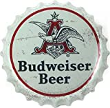 "Budweiser Beer Anheuser Busch Logo Corrugated Metal Sign, Scalloped ""Bottle Cap"" Edge, Ready For Wall Mounted Display Review"