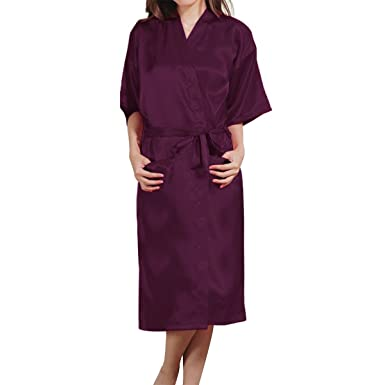 308b69da7dd5 LAPAYA Women s Long Kimono Robe Classic Lounge Bathrobe Bride Satin Robe  Sleepwear