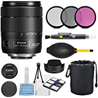 Canon EF-S 18-135mm f/3.5-5.6 Image Stabilization USM Lens (Black) with 3pc Filter Kit (UV, CPL, FLD) + Lens Pouch + Hood + Deluxe Cleaning Kit - International Version