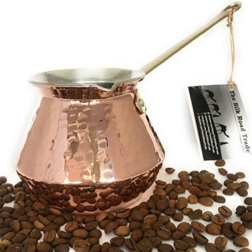 The Silk Road Trade - DC Series - Thickest Gorgeous Hammered Copper Turkish Greek Arabic Copper Coffee Pot/Coffee Maker Ibrik Briki with Cast Solid Bronze Handle - New Style 2018 (20 fl oz) by The Silk Road Trade (Image #2)