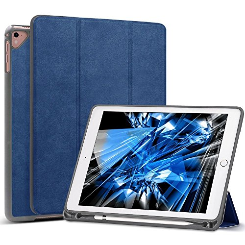 Price comparison product image New iPad 9.7 2018 6th Generation Case with Apple Pencil Holder / iPad Pro 9.7 Case,  Wonzir Slim Lightweight Stand Protective Cover with Auto Wake / Sleep for Apple iPad 9.7 Inch Tablet (ipad 9.7,  Blue)
