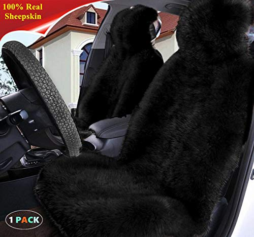Sisha Winter Warm Authentic Australia Sheepskin Car Seat Cover Luxury Long Wool Front Seat Cover Fits Most Car, Truck, SUV, or Van (Black)