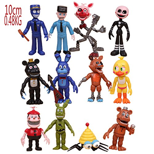 Max Fun Set of 12 pcs Five Nights At Freddy's Action Figures Toys Dolls Xmas Gifts Cake Toppers, 4 inches by Max Fun