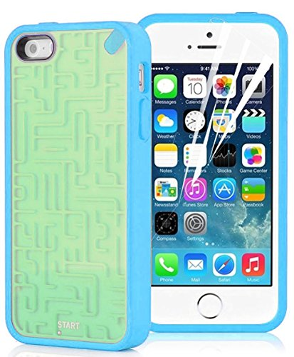 iPhone 5 Case - Retro Maze Game Back Cover for iPhone 5 / 5s / SE, Green & Blue (Lizard Retro)