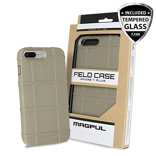 iPhone 7 Plus Case, iPhone 8 Plus Case, with TJS [Tempered Glass Screen Protector], Magpul [Field] MAG849 Polymer Case Retail Packaging for Apple iPhone 7 Plus/iPhone 8 Plus (Flat Dark Earth)