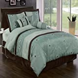 Egyptian Bedding Luxurious KING Size 11 Piece Grand Park Aqua-Blue Comforter Set with Comforter, Bed Skirt, Pillow Shams, Cushion, Breakfast Pillow, Neck Roll & BONUS 600TC 100% Egyptian Cotton Bed Sheet Set, Color Style Aqua Blue and Coffee with White and Brown