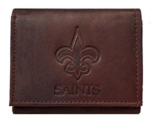 Rico New Orleans Saints NFL Embossed Logo Dark Brown Leather Trifold Wallet