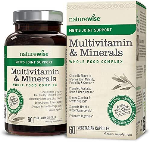 NatureWise Men's Whole Food Multivitamin with Joint Support | Vitamins, Minerals, Organic Whole Foods + UC-II Collagen Improves Joint Mobility & Comfort (⬇ Watch Video in Images) [1 Month - 60 Count]