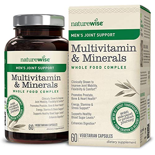 NatureWise Men's Joint Support Whole Food Multivitamin — Multivitamin for Men with Essential Vitamins, Minerals & Organic Whole Foods, Plus UC-II to Improve Joint Mobility & Comfort, 60 Count