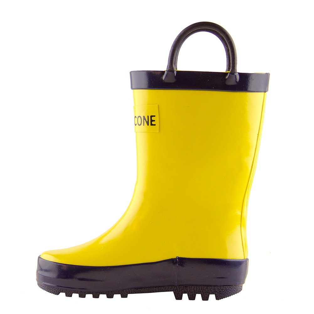 LONECONE Children's Waterproof Rubber Rain Boots in Solid Colors with Easy-On Handles Simple for Kids, Yellow with Blue Trim, Little Kid 12