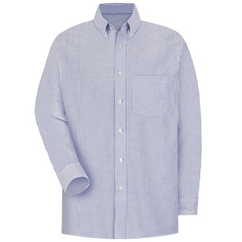 Red Kap SR70 Men's Long Sleeve Executive Oxford Dress Shirt Blue/White Stripe 18.5 Neck x 35 Sleeve