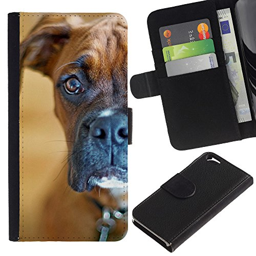 OMEGA Case / Apple Iphone 6 4.7 / boxer staring shorthair brown dog / Cuir PU Portefeuille Coverture Shell Armure Coque Coq Cas Etui Housse Case Cover Wallet Credit Card