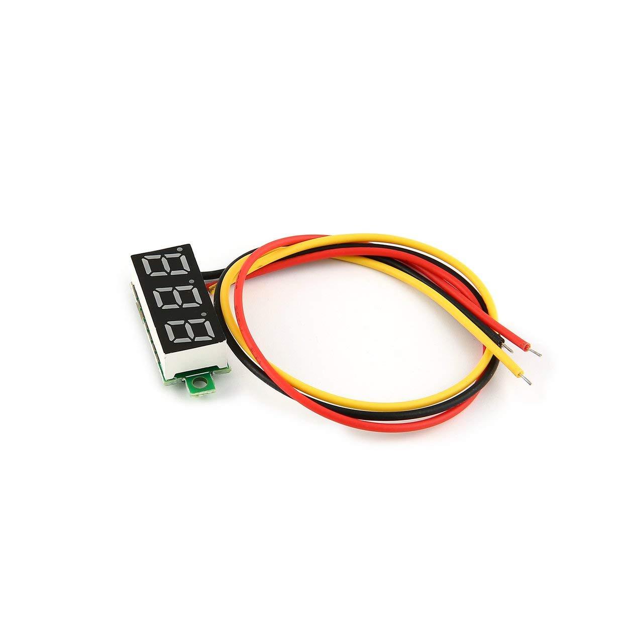 0-100V 0.28in 3 fils LED panneau daffichage num/érique voltm/ètre testeur de tension /électrique voltm/ètre pour batterie Auto CarGreen couleur: noir
