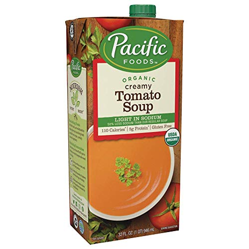 Creamy Sodium (Pacific Foods Organic Creamy Tomato Soup, Light Sodium, 32oz, 12-pack)