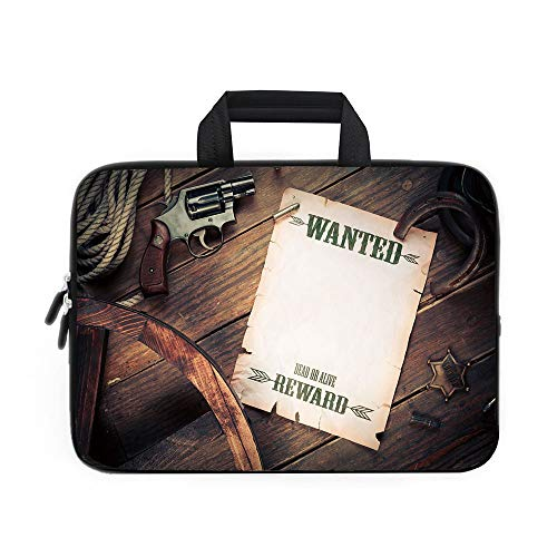 Western Laptop Carrying Bag Sleeve,Neoprene Sleeve Case/Empty Blank Wanted Sign Paper with Old West Sheriff Items on Wooden Planks Print Decorative/for Apple Macbook Air Samsung Google Acer HP DELL Le