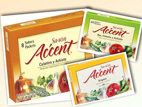 Sasón Accent Flavor Enhancer - VARIETY PACK (Regular - Culantro & Achiote - Ajo, Cebolla & Achiote) 3.52 oz (Count of 3)