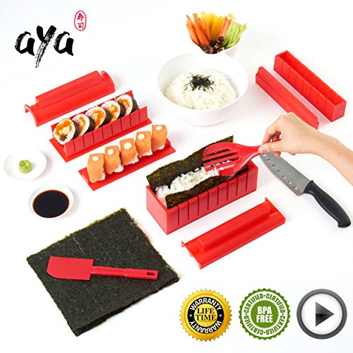 Sushi Making Kit - Original AYA Sushi Maker Deluxe Exclusive Online Video Tutorials Complete with Sushi Knife 11 Piece DIY Sushi Set - Easy and Fun - Sushi Rolls - Maki Rolls Easy Sushi Rolls