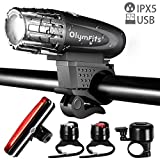OlymFits USB Rechargeable Bike Light Set LED Tail Light, Powerful Lumen WaterProof Bicycle Light Headlight Front and Back Rear Light for Outdoors, Cycling, Kids Review