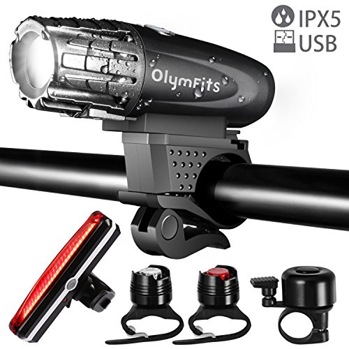OlymFits USB Rechargeable Bike Light Set LED Tail Light, Powerful Lumen WaterProof Bicycle Light Headlight Front and Back Rear Light for Outdoors, Cycling, Kids