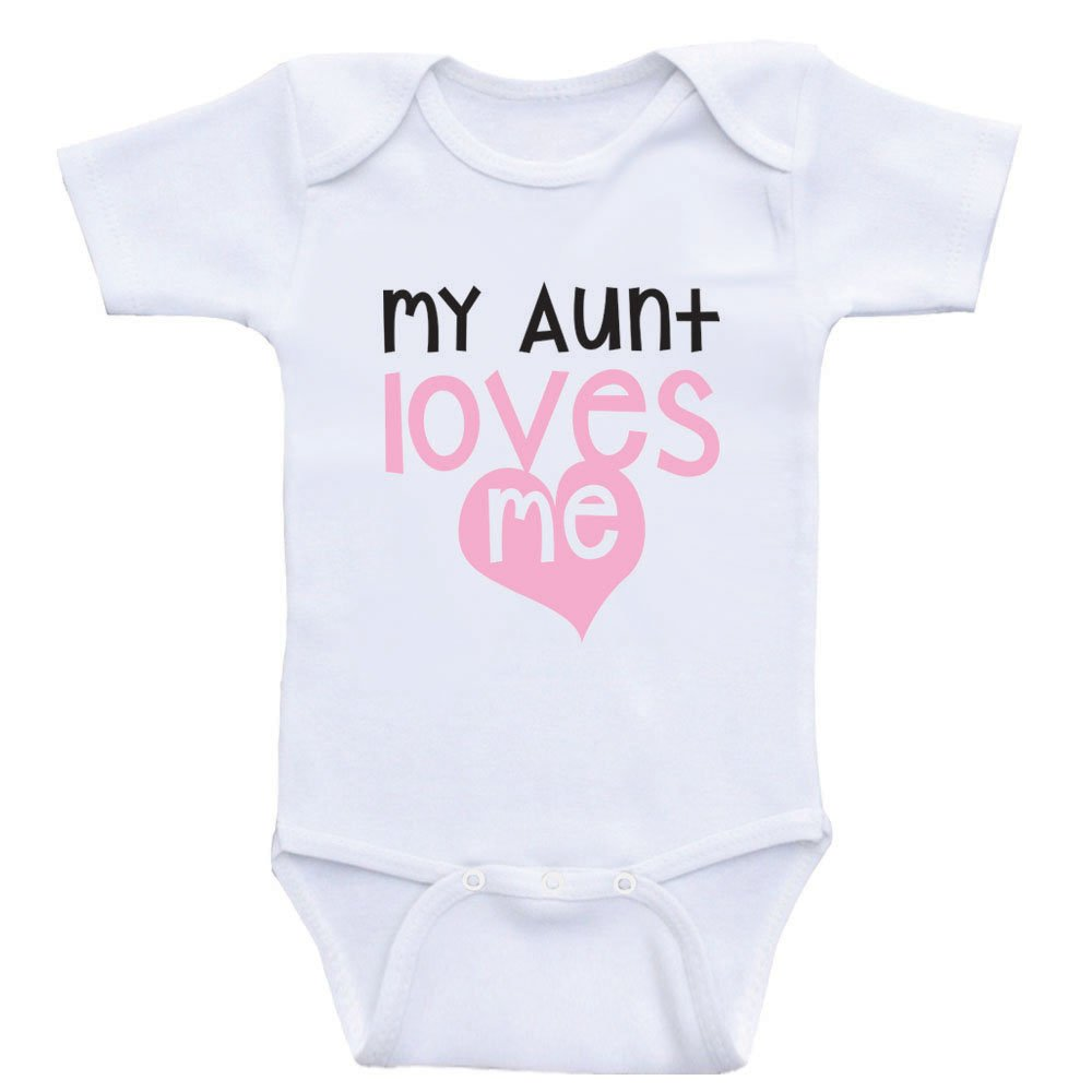 4b710f0e0d71 Amazon.com  Aunt Baby Onesies My Aunt Loves Me Cute Baby One-Piece ...