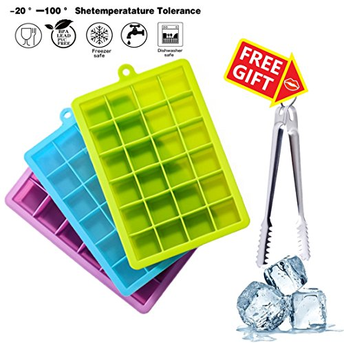 3 Pack Ice Cube Trays with Lids, Easy Release Silicone Ice Cube Mold Containers, 72 Ice Cube with Spill- Resistant Lids, Extra Stainless Steel Ice Tongs, FDA Certified and BPA Free (Green/Blue/Purple) (Cocktail Ice Tongs)