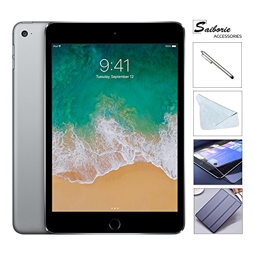 "Apple iPad Mini 4 128GB W/Saiborie 49.99 Value Accessories, 7.9"" Retina Display, 2GB RAM, Dual-Core A8 Chip, Quad-Core Graphics, Wi-Fi, MIMO, Bluetooth, Apple iOS 9 (Space Gray)"
