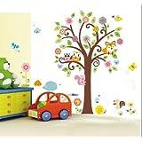 WallStickers Decal Stickers animaux de la forêt avec chouette, écureuil, renard et chant sur arbres multicolores pour chambres d'enfants et salles de jeux