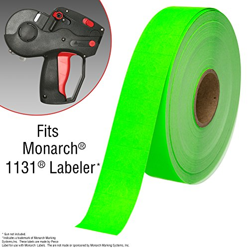 Flou. Green Pricing Labels for Monarch 1131 Price Gun - 1 Sleeve, 20,000 Price Gun Labels - with Bonus Ink Roll by Perco (Image #2)