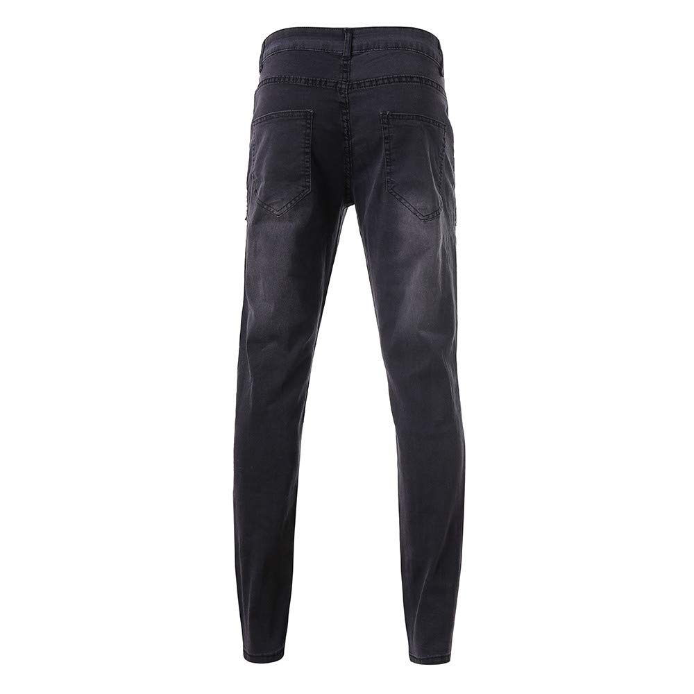 Alangbudu Men Ripped Skinny Twill Jogger Pants Stretch Slim Fit Trousers Casual Workout Sweatpants Jeans with Hole