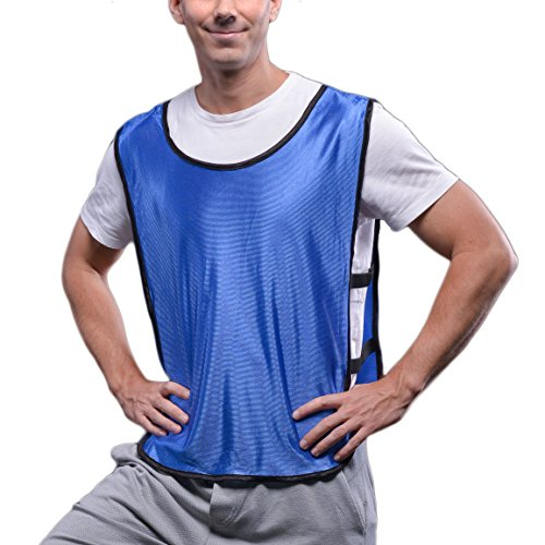 SportsRepublik Mesh Pinnies (12-Pack) | Red and Blue Sports Practice Jerseys | Kids, Youth or Adult Sizes | Ventilated & Flexible Straps