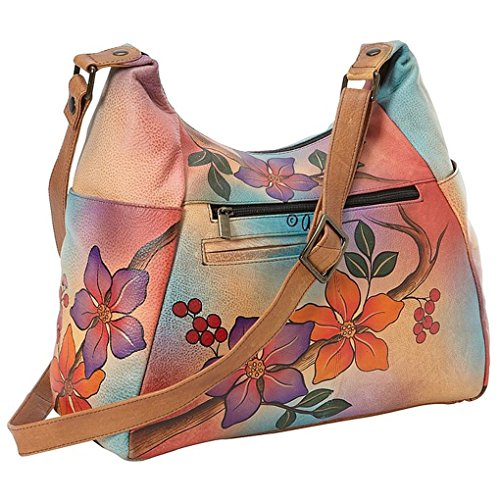 Holder Leather Anna Painted Real Purse Handbag Anuschka Multi Purse Bird Brunch on with on Hand Design Pocket Hobo C7wUqxw8
