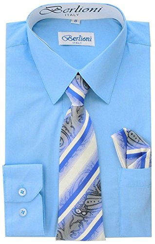 Berlioni Boys Italian Long Sleeve Dress Shirt with Tie & Hanky-Light Blue-6 (Shirt Collar Italian Cotton Dress)