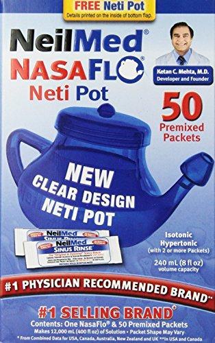 NeilMed NasaFlo Unbreakable Neti Pot with 50 Premixed Packets (Pack of - Pot Neti Nasaflo