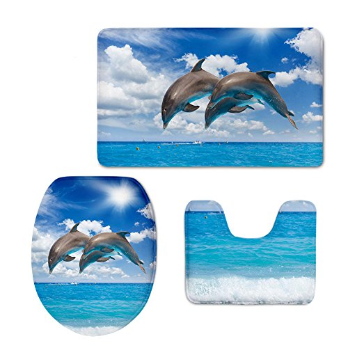 chaqlin Cute Dolphin Slip-Resistant Bath Mat Set Animal Blue Flannel Bathroom Mat Contour Toilet Cover Rug