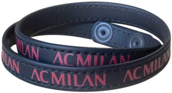 Official Product Milan Double Leather Bracelet with Wording and Poussoir Closure A.C