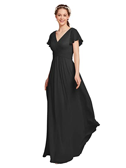 a0b83c06cc10e AW Chiffon Bridesmaid Dress with Sleeves V-Neck Wedding Maxi Evening Party  Dress Long Plus Size Prom Gowns