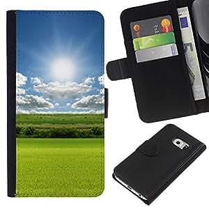 All Phone Most Case / Oferta Especial Cáscara Funda de cuero Monedero Cubierta de proteccion Caso / Wallet Case for Samsung Galaxy S6 EDGE // Nature Field Green