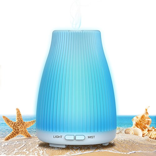 BAXIA TECHNOLOGY Aroma Essential Oil Diffuser, 100ml Portable Ultrasonic Aromatherapy Diffusers with 8 Color LED Night Lights and Waterless Auto Shut-off for Home Baby Bedroom Office Study Yoga Spa