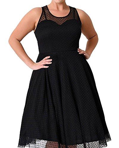 KunLunMen Women's Sexy Lace Vintage Plus Size Sleeveless O-neck A-Line Evening Party Dress