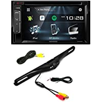 Kenwood DDX24BT Double DIN Bluetooth Stereo with 6.2 inch Wide VGA Color LCD Display + Pyle PLCM18BC (Black ) License Plate Mount Rear View Backup Color Camera w/ Distance Scale Line