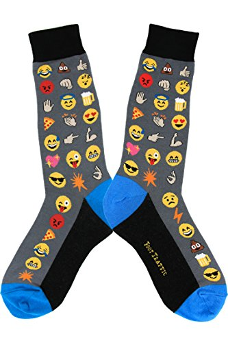 Foot Traffic, Men's Wacky Novelty Socks, Emoji (Shoe Sizes 7-12) (Christmas Grandpa Angry 2019)