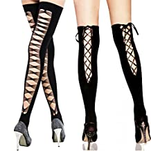 kilofly Black Cross Net Back Thigh High + Lace Up Knee High Stockings, Set of 2