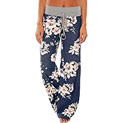 Pajamas Women Women's High Waist Casual Floral Print Drawstring Wide Leg Palazzo Pants Lounge Pajama Pants (Tag M (US 6), Blue)