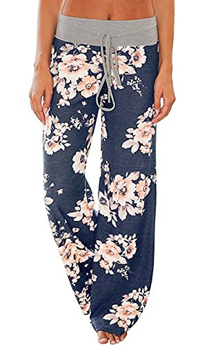 AMiERY Pajamas for Women Women's High Waist Casual Floral Print Drawstring Wide Leg Palazzo Pants Lounge Pajama Pants (Tag L (US 8), Blue)