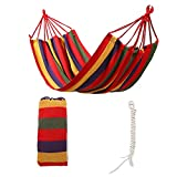 Nochim Portable Canvas Hammock Single/Double Cotton Fabric Outdoor Snap Hanging Hammock Lightweight Soft Leisure Bed for 2 Person