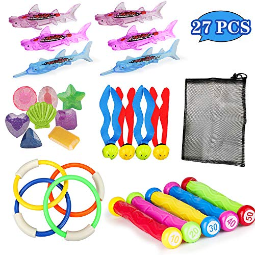 Diving Pool Toys for Kids 27 Pcs Underwater Swimming Pool Toy Set,Diving Sticks-5 Pcs,Diving Rings-4 Pcs,Diving Fish-6 Pcs,Jewel Gem-8 Pcs,Seaweed-4 Pcs,to Keep Ages 3 and Up Girls & Boys Play