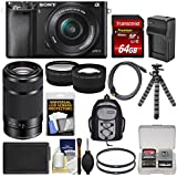 Sony Alpha A6000 Wi-Fi Digital Camera & 16-50mm Lens (Black) with 55-210mm Lens + 64GB Card + Backpack + Battery/Charger + Tripod + Kit