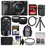 Sony Alpha A6000 Wi-Fi Digital Camera & 16-50mm Lens (Black) with 55-210mm Lens + 64GB Card + Backpack + Battery/Charger + Tripod + Kit For Sale
