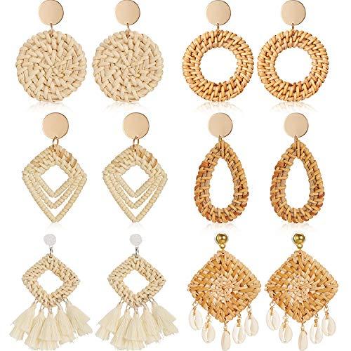 6 Pairs Rattan Earrings Lightweight Geometric Statement Tassel Woven Bohemian Earrings Handmade Straw Wicker Braid Shell Hoop Drop Dangle Earrings For Women Girls